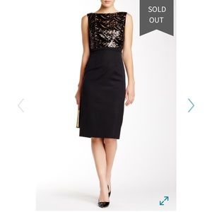 ML Monique Lhuillier Sequin Top Cocktail Dress
